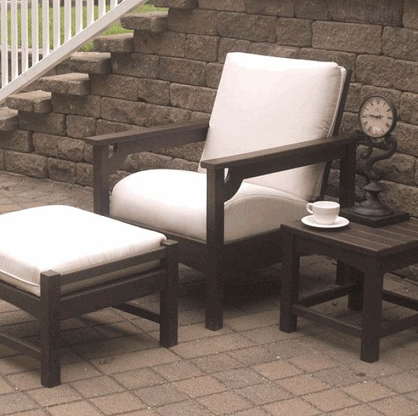 POLYWOOD Club Collection has deep seating cushion comfort with classic Arts and Crafts Mission style. Bring the comfort of your living room outdoors with the Club Patio furniture collection. These recycled plastic lumber chairs have the look of fine wooden furniture without the maintenance. http://www.daxstores.com/