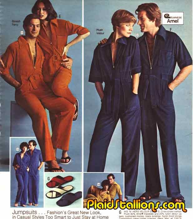 The iconic and ultimate 70s crime: Unisex Jumpsuits 70s #fashion #mockery