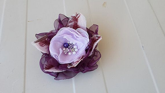 Beautiful Flower Brooch with Eggplant Purple by nezoshop on Etsy, $14.00