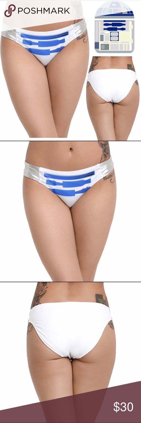 R2D2 S Cosplay Costume Swim Bikini Bottom DISNEY STAR WARS R2D2 Cosplay Bikini Bottom Condition: New with tags Size: Small Color: White, blue, & silver Product Details: R2D2 Print Swim Bottom Perfect for regular swimming, Cosplay, & Costumes Body: 82% Nylon; 16% Spandex Lining: 100% Polyester Hand wash cold; drip dry Brand New with tags Disney Swim Bikinis
