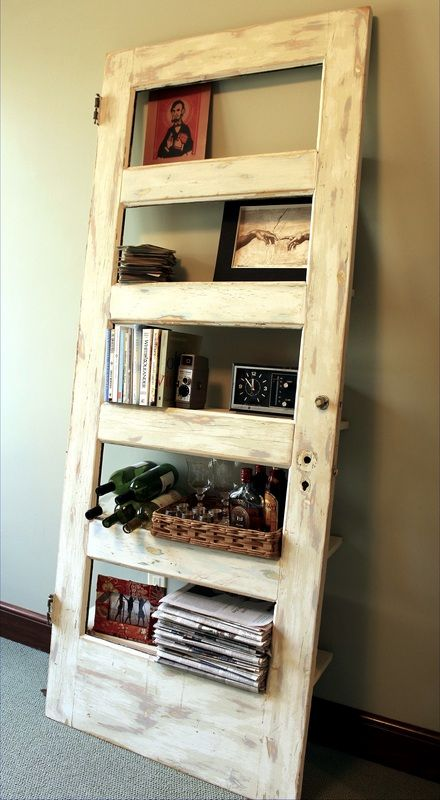 Old Doors Repurposed Into Bookshelves Shelves Urbansquaredrealty Austininteriors Repurpose Olddoor