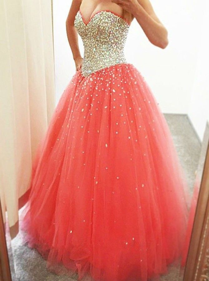 puffy prom dresses 2017 Long Puffy Coral Princess Prom  Dresses Sweetheart Neckline Fully Beaded prom dresses Top Sparkly  Graduacion dresses