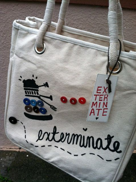 SO CUTE. Cutesy Dalek Bag: Dalek Bag, Cutesy Dalek, Idea, Stuff, Button, Drwho, Bags, Doctor, Crafts