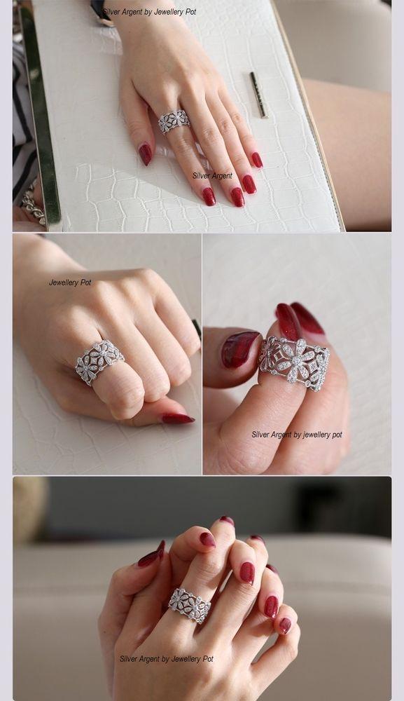 925 Silver Ring,Filigree Ring,wedding band,Simulated diamond Ring Size 9/S