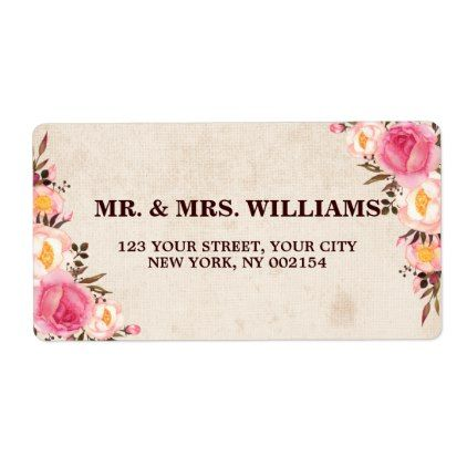 Rustic Country Floral Return Address Label - autumn wedding diy marriage customize personalize couple idea individuel
