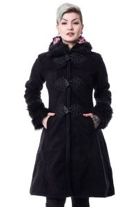Vixxsin - Langer schwarzer Mantel mit Kunstfell Kragen - Frozen Coat