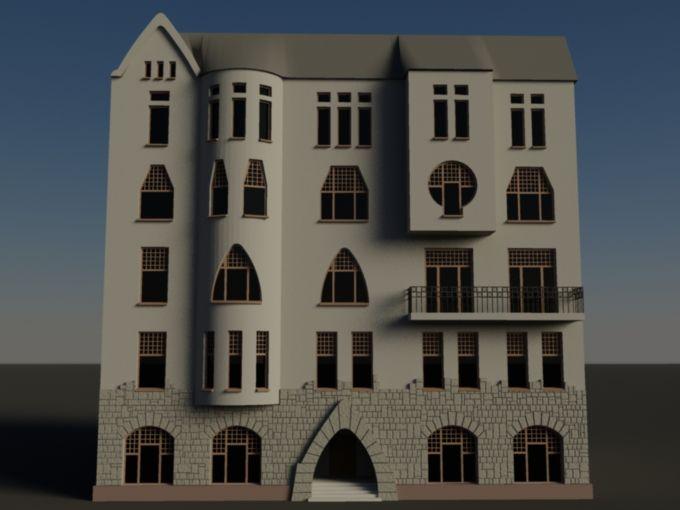 Фасад здания в стиле «модерн». На модели вы видите фасад дохдного дома, выстроенного в стиле «модерн» в его северном, петербургском варианте. Принципиальным для модерна являлась попытка избежать эклектического заимствования форм украшения фасадов и интерьеров из ордерной и другой архитектуры, попытка создать собственный образный язык. Широкое применение новых материалов и конструкций (железобетон, металлический каркас) позволило более смело экспериментировать с формами.