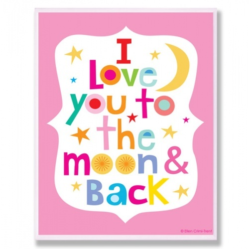 Love You To The Moon and BackWall Art, Ellencrimitr, Ellen Crimi Tr, Love You, Kids Wall, Kids Room, Vibrant Colors, Baby, The Moon