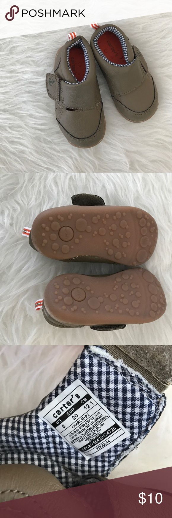 Carters baby shoes! GUC Carters baby shoes. Size 5! Not much wear on the bottom. Brown leather like shoes!  Some slight imperfections from wear. Carter's Shoes Baby & Walker