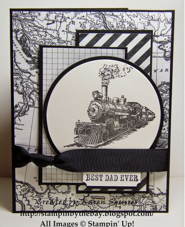 handmade card from Stampin' By The Bay: Mojo Monday 353 - Typeset Traveler ... black and white ... like the map as background paper ... knotted ribbon ties up the many layers ... great card! .. Stampin'Up!