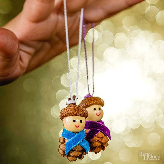 These little guys are sure to bring a smile to anyone who sees them. To make, glue a mini pinecone to a wooden bead and an acorn cap to the top of the bead. Add a velvet ribbon scarf and secure with glue. Use fine-point markers to add eyes and a mouth. Attach a loop of string for hanging.