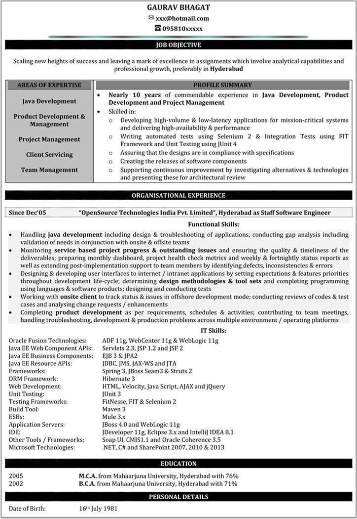 Resume Example 1 Year Experience Download Pinterest Sample