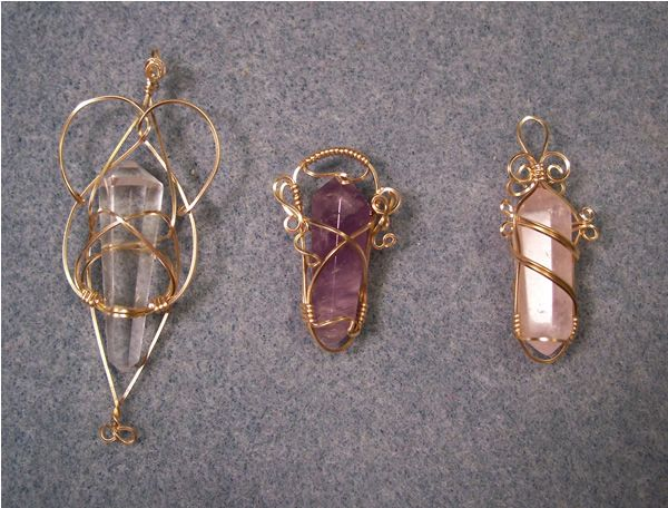 Clear quartz, rose quartz and amethyst in 14K gold-filled, bright copper, and Argentium silver wire.