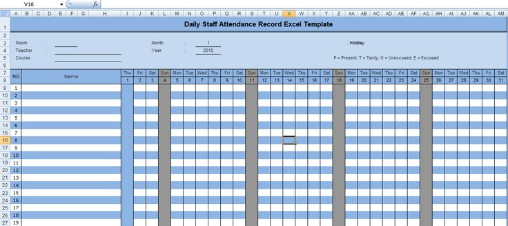 Daily Staff Attendance Record Excel Template | Microsoft Office Excel Templates