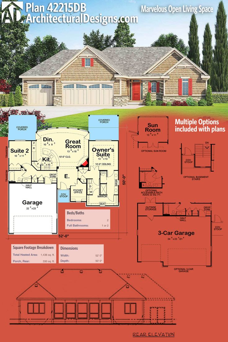 Architectural Designs House Plan 42215DB Is A 2 Bed Design With Over 1,400  Square Feet