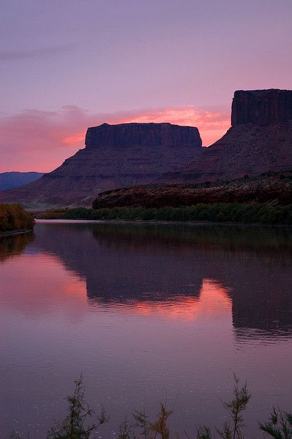 Dusk on the Colorado River in Castle Valley, a few miles outside Moab, Utah