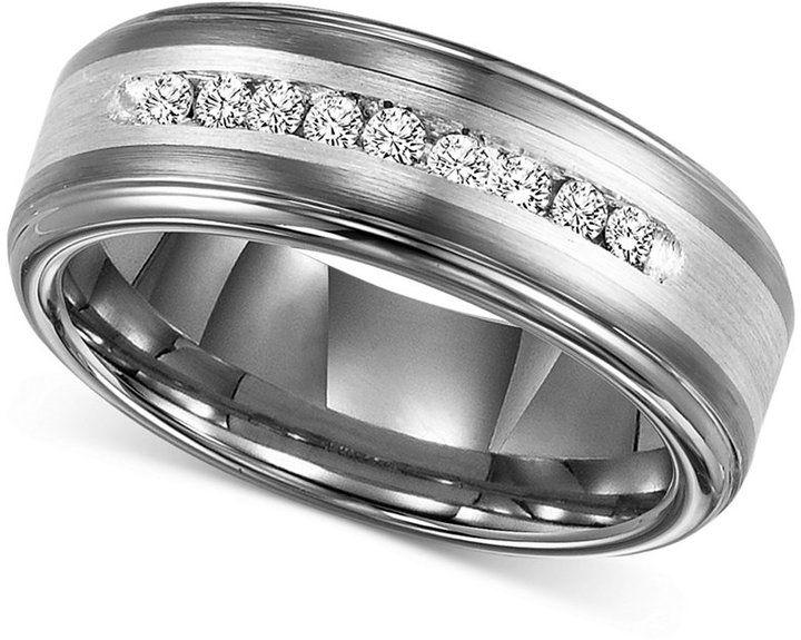 Triton Men S Diamond Wedding Band In Tungsten Carbide 1 4 Ct