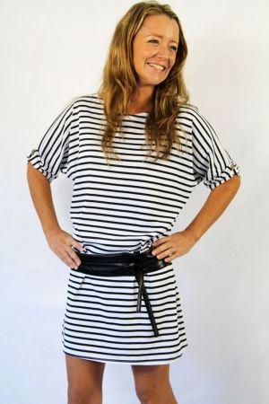 Organic cotton batwing dress in black  white stripe. Shop here: www.hardtofind.com.au