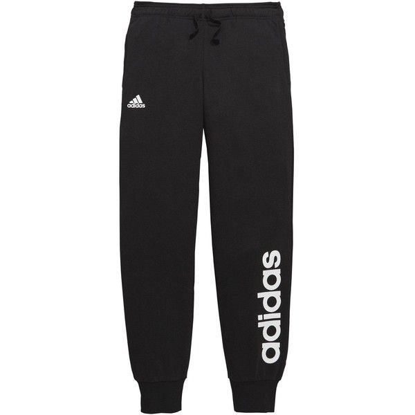 Adidas Older Girls Linear Jog Pant found on Polyvore featuring activewear, activewear pants, pants, adidas activewear, adidas sportswear, adidas and logo sportswear
