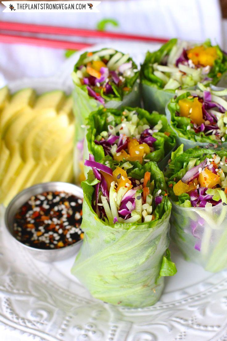 Rainbow Salad Rolls | #Vegan #GlutenFree #SoyFree | ThePlantStrongVegan.com