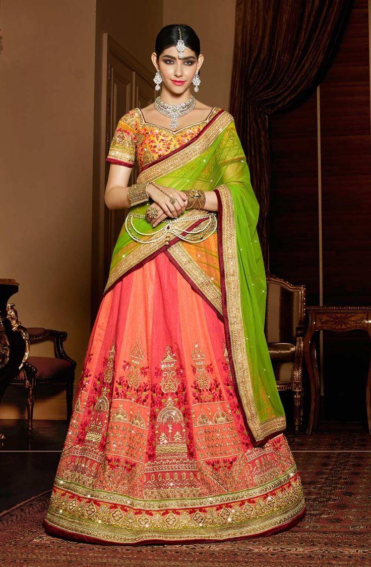Peach and orange wedding wear Rajasthani ghagra choli in silk N16098