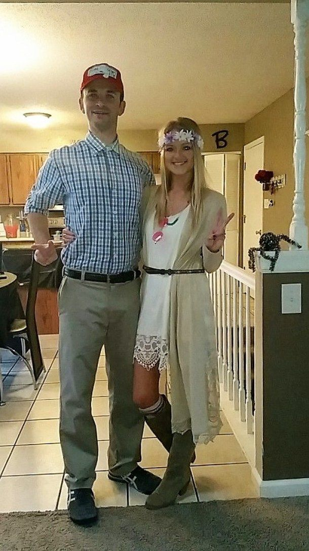 DIY Couples Halloween Costume Ideas - Forrest Gump and Jenny Movie Theme Couples Costume Idea