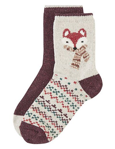 Assorted Ankle High Socks with Wool 2 Pair Pack | M&S