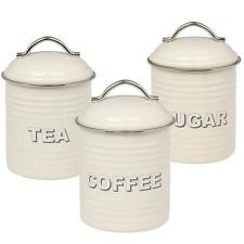 NEW Set 3 Retro Style Metal Tea Coffee And Sugar Canisters In Cream