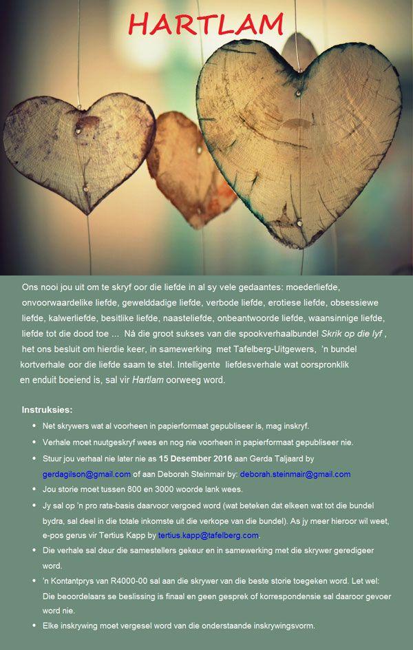 Uitnodiging: Stuur jou liefdeskortverhaal as voorlegging vir nuwe Hartlam-bundel | LitNet