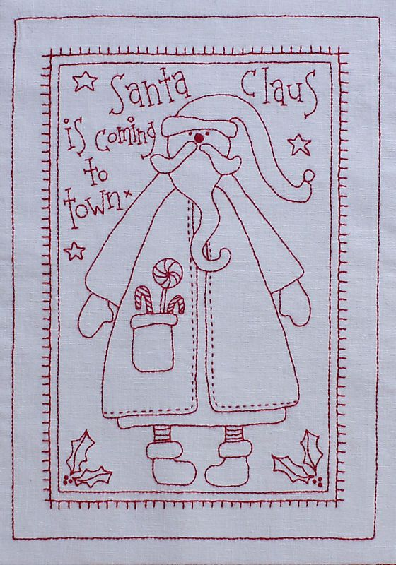 Redwork Quilt Patterns Christmas : Santa Claus from It?s a Redwork Christmas on Rosalie ...