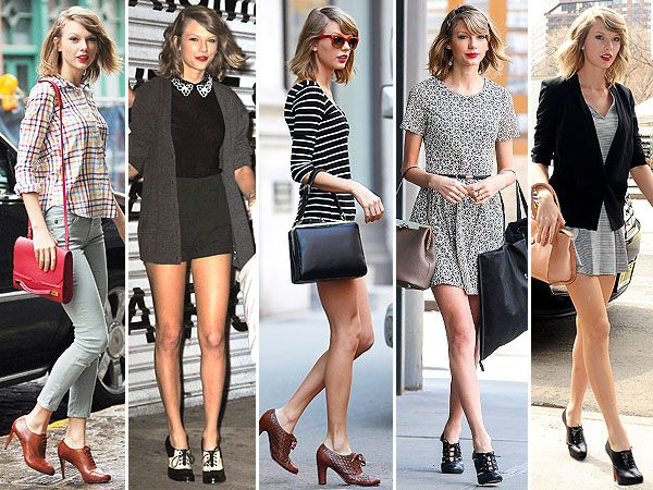Taylor Swift's Current Shoe Obsession: High-Heeled Lace Up Oxfords  - Mine, too. This was my shoe of choice in high school