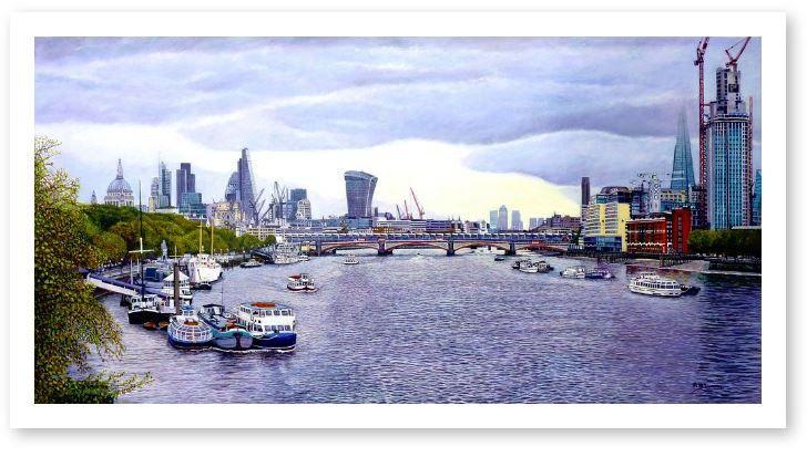 London Panorama. The Thames Towards Blackfriars Bridge GicléeLimited Edition Print