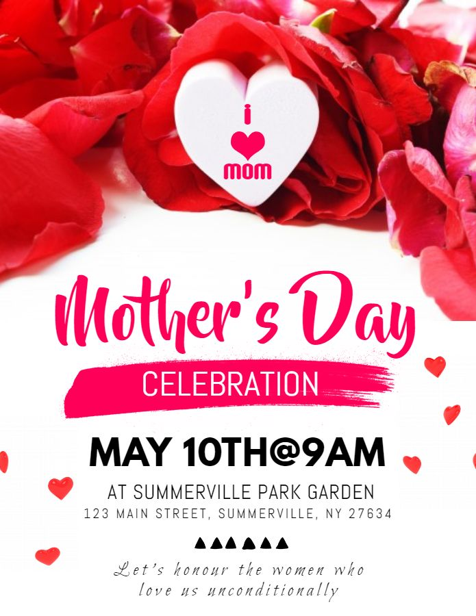 Printable mother\u0027s day celebration party flyer - red Mother\u0027s Day