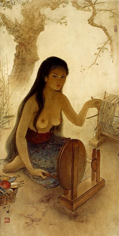 Lee Man Fong - A Balinese Women Spinning (sold for $ 156,160)