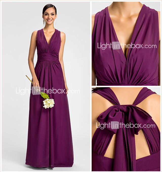 Bridesmaid Dress Floor Length Chiffon Sheath Column V Neck Halter Dress 2015 – $74.99
