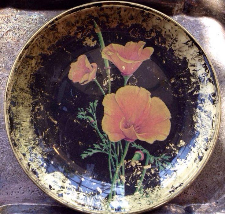 Hand Crafted Decoupage Plate Vintage Poppy by kristihughesdesign