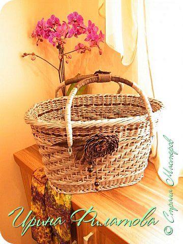 плетеная корзинка из бумажной лозы.....декор кожа...