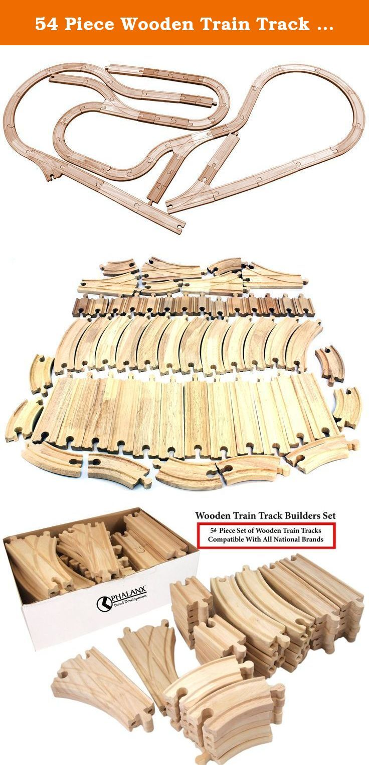 54 Piece Wooden Train Track Builders Set of Wooden Tracks, Compatible with Thomas, and More. PREMIUM WOODEN 54 PIECE SET OF TRAIN TRACKS-Machine made, and hand finished, perfectly compatible with National brands, including Thomas;GREAT VALUE FOR THIS EXPANSION SET OF WOODEN TRAIN TRACKS-Featuring turns, straight tracks, junctions, and more, perfect variety for expanding your set. See photos for breakdown of variety included, and counts.;HIGH QUALITY AND CRAFTSMANSHIP-High quality wood...