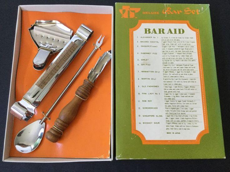 Vintage Deluxe Bar Set Mancave Home Bar Retro Cocktails List Recipes Made Japan