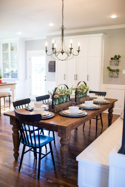 Our Favorite HGTV Fixer Upper Interior Design Moments White FarmhouseModern FarmhouseFarmhouse StyleDining Room TablesWood