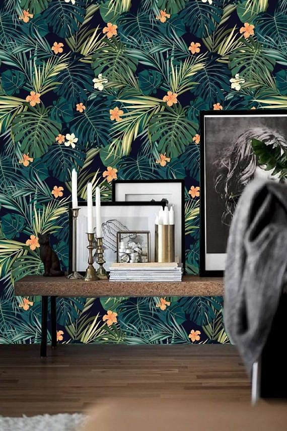 Peel And Stick Wall Paper Monstera Leaf Wallpaper Wall Mural Etsy Tropical Wall Decor Wall Wallpaper Leaf Wallpaper
