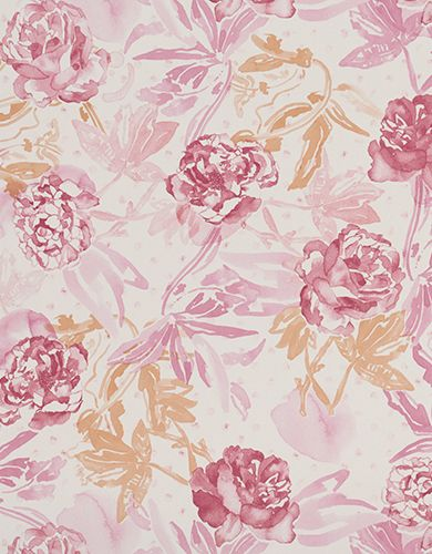 Wallpaper Design 'Roses' reference 4800012 (10 metres x 53cms) A superb trailing rose watercolour designed wallpaper, in a striking crimson, pink, mauve and peach colour combination. This wallpaper is washable, with good light resistance and strippable. #Paper Moon #Coordonne #Wallpaper #Lara Costafreda #Roses