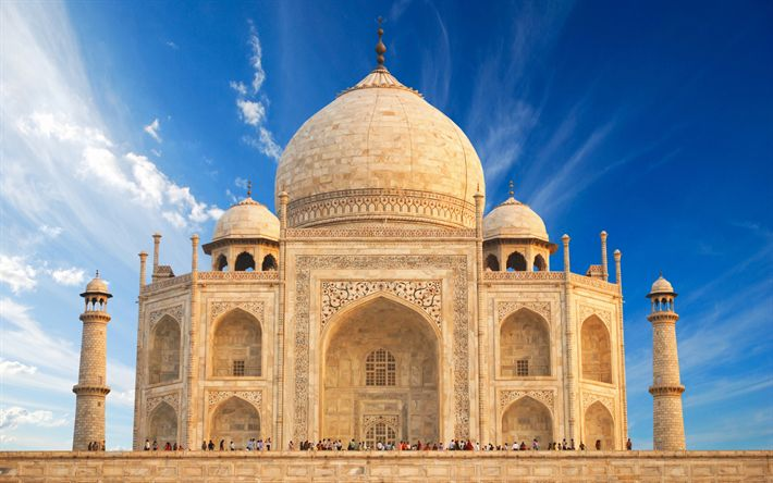 Download wallpapers Taj Mahal, indian landmarks, mausoleum, Agra, India, Asia