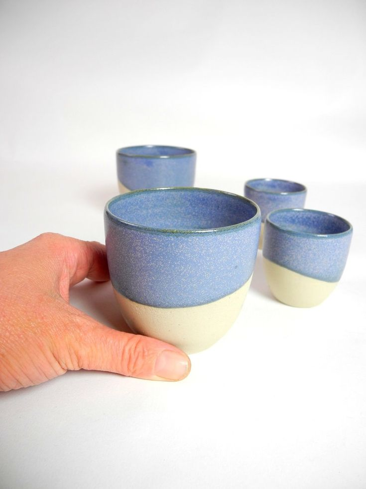 Cafe cups cream with reptile blue set of 2.