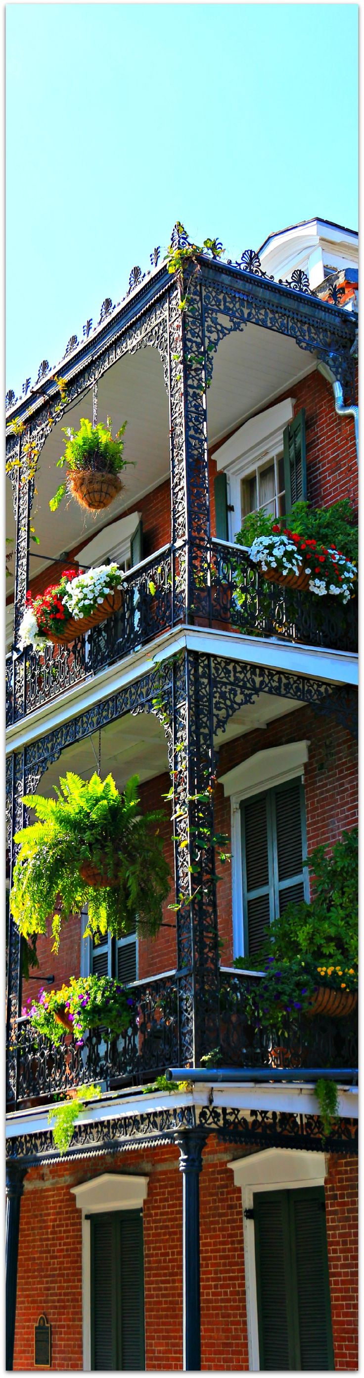 Beautiful close-up of the wrought-iron balconies that make the French Quarter so picturesque!  New Orleans, LA