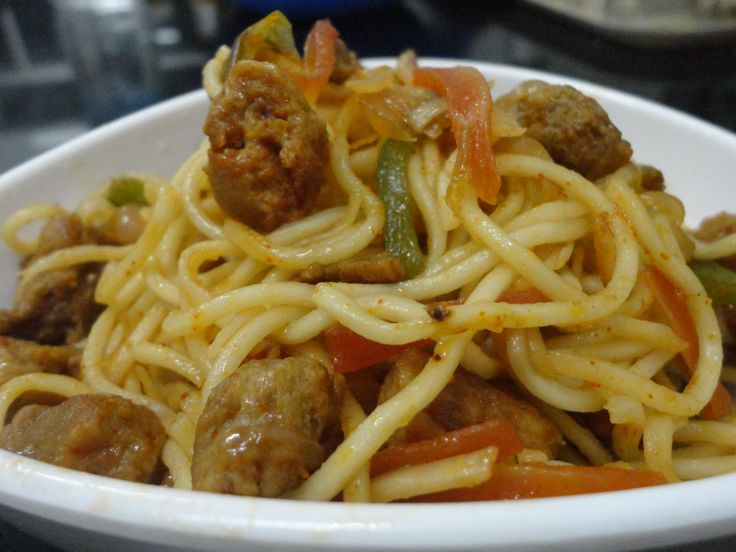 Spicy noodles with soyabean nuggets by Mahua Dey