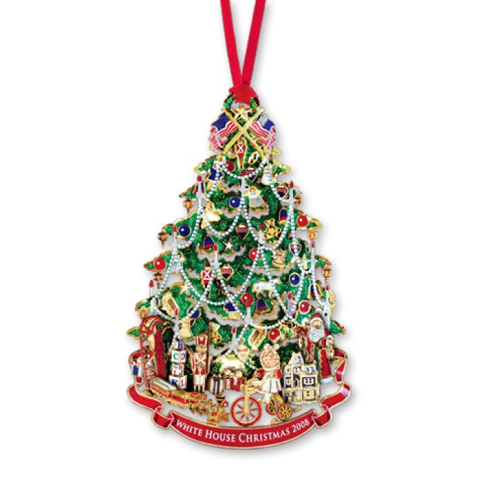 2008 White House Christmas Ornament, A Victorian Christmas Tree - The White House Historical Association's 2008 ornament honors the administration of President Benjamin Harrison. Serving one term from 1889 to 1893, Harrison was a centennial president inaugurated 100 years after George Washington. Inspired by the Harrison family's Victorian Christmas tree, this 24 karat gold finished ornament interprets the first recorded tree to decorate the White House.