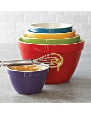 Made of durable earthenware, these colorful mixing bowls are microwave and dishwasher safe and come in an array of essential sizes.