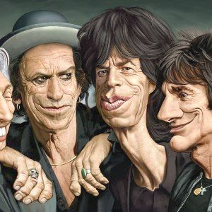 """52 Amazing examples of Celebrity Caricatures cover of the next Rolling Stones CD album entitled """"Geezers""""."""