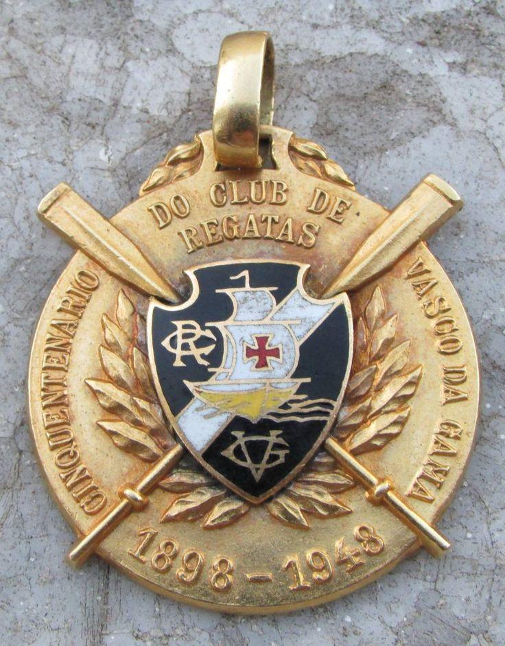 medalha ouro - cinquentenário vasco da gama - escudo vascão